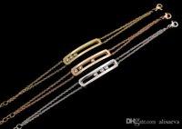 pulsera fina de oro rosa al por mayor-Fashion4U99 de calidad superior con diamantes CZ de acero inoxidable elegante brazalete de tres piedras de cobre micro fino color oro rosa pulseras de amor