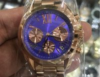 Wholesale types men watches resale online - The popular types mm rose gold case purple dial quartz watches suit both men and women with all sub dials works second hand tick fash