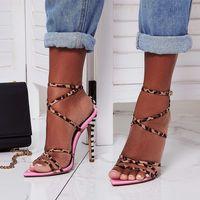 sandalias de tacón a rayas al por mayor-Venta caliente-2019 Sexy rosa rayas amarillas leopardo con estampado cruzado tiras cruzadas sandalias de tacón alto diseñador de lujo para mujer diapositivas tamaño 35 a 40