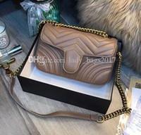 Newset Women Lady Messenger Bags Love heart V Wave Pattern Satchel Genuine Leather Shoulder Bag Chain Handbags Purse