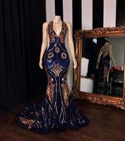 Wholesale gowns resale online - Sequined Mermaid Evening Dresses Deep V Neck Blue Gold Evening Gowns Sleeveless Prom Dress vestidos de fiesta robe de soiree Abendkleider