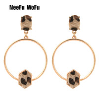 Wholesale bright color earring resale online - Brandjewelryyy s latest popular bright color stone leopard leather inlaid zinc alloy thin circle shaped big earrings fashion earrings