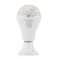ampul kameraları toptan satış-360 Derece LED Işık 960 P Kablosuz Panoramik Ev Güvenlik Güvenlik WiFi CCTV Balıkgözü Ampul Lamba IP Kamera İki Yolu Ses