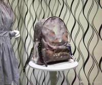 sticken sie die handtasche großhandel-Hochwertige Graffiti gedruckte Canvas Rucksack Seiltasche bestickt mit mehrfarbiger Canvas Rucksack Schultasche Handtasche