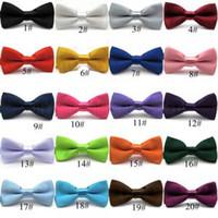 bebekler kravat kravat toptan satış-Bebek şeker renk papyon düz renkler papyon düğün erkek kız 20 renkler bow kravatlar IIA269