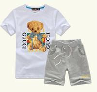 baby kleidung tier anzüge großhandel-Jungen Tier Applique Tops + Pants Outfits Kinder Mode Kleidung Set Kinder Sport Anzüge Designer Babykleidung Freies Verschiffen