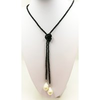 Wholesale 16mm black pearl resale online - Fashion Cute Mini mm Crystal Glass beads Necklace with mm Fresh Water Pearl necklace cm long knotted Black and Yellow Women neckla