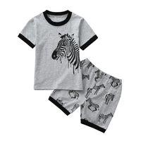 impresiones de cebra tutu al por mayor-2 piezas de ropa de verano bebé de la niña Establece niño infantil de los niños del bebé muchachas del muchacho Animal Print Zebra Tops + Shorts Prendas