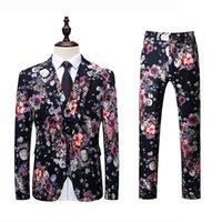 ingrosso pantaloni corti coreani per gli uomini-Jacket + Vest + Pant Men Suit Fashion 2018 Coreano Slim Fit Casual Mens Dress Abiti di alta qualità Plus Size Affari Blazer floreale 6XL