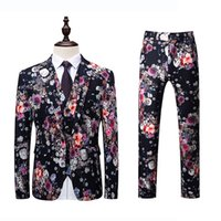 корейские цветочные куртки оптовых-Jacket+Vest+Pant Men Suit Fashion 2018 Korean Slim Fit Casual Mens Dress Suits High Quality Plus Size Business Floral Blazer 6XL