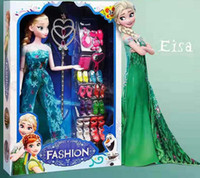 Wholesale toys for hands resale online - Frozen Cartoon princess doll handmade dress shoes clothes crown Magic wand up Action Aisha Ana Lovely Toy Model For kid birthday gift