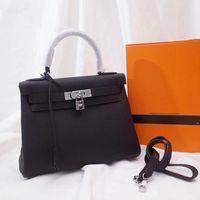 omuz çantalarını kilitle toptan satış-25 cm 28 cm 32 cm Yeni Lüks Tasarımcı Deri Kilit El Çantaları Deri Kadın Çanta En saplı Bayanlar Omuz Çantaları Klasik Kadın Haberci Çantası