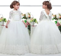 Wholesale hem wedding dress flower for sale - Group buy 2019 Lovely White First Communion Flower Girl Dresses Princess Tulle Lace Applique Hem Ball Gown Kids Graduation Pageant Gowns BC1012