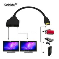 Wholesale computer hdtv cable resale online - kebidu Fasion HDMI Male To Female HDMI Splitter Double Signal Adapter Converter Cable in out for Video TV HDTV