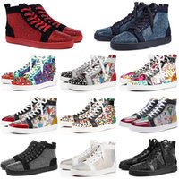 женская обувь высокого качества оптовых-Christian Louboutin Sneakers High quality ACE Brand Fashion Designer Studded Spikes Flats shoes Red Bottom Shoes For Men and Women Party Lovers Genuine Leather Sneakers