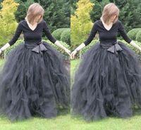 vestidos de adulto venda por atacado-Até o chão vestido de Baile Saias Para As Mulheres Ruffled Tulle Saia Longa Adulto Mulheres Tutu Saias Senhora Saias Formais Com Caixilhos
