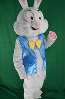 traje de coelho de páscoa venda por atacado-2018 alta qualidade coelhinho da páscoa traje da mascote do vestido de fantasia animais engraçados bugs coelho mascote tamanho adulto traje da mascote do coelho