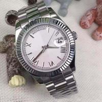 herren saphirglas großhandel-Luxus Herrenuhr Day Date Sapphire Crystal Roma Anzahl Edelstahl Herrenuhren Automatische mechanische männliche Armbanduhr