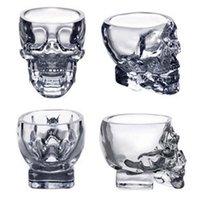 ingrosso tazze di birra del cranio pirata-Crystal Skull Head Vodka Bicchiere da vino Bicchiere da 80 ml Skeleton Pirate Vaccum Beer Glass Mug