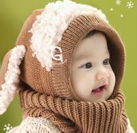 lenço encapuçado dos meninos venda por atacado-Bebê do inverno orelha de coelho Chapéus Lovely Girl Beanie Cap Boy Quente Hat bebê com capuz de malha Scarf Earflap Caps 2 cores KKA7613