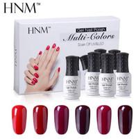 esmaltes gel venda por atacado-HNM Kit Caixa de Presente Laca Sorte para Nail Art DIY Esmalte Híbrido Verniz 6 PÇS / KIT Série Clássica Conjunto UV Gel Esmalte