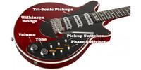 ingrosso chitarra elettrica tremolo ponti-Rare Guild Brian May Chitarra elettrica rossa 24 tasti bmg speciale ciliegia antica chitarra elettrica caratteristiche Wilkinson Tremolo Bridge