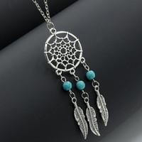Wholesale leaf catcher resale online - Hot sale Dream Catchers choker necklaces vintage silver wings feather leaf turquoise pendant adjustable necklace for women s Fashion Jewelry