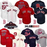 ted baseball großhandel-9 Ted Williams 50 Mookie Betts Boston Red Sox Jersey 15 Dustin Pedroia 150. Baseball-Shirts