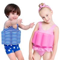 biquíni de banho das crianças venda por atacado-Crianças Listrado Floral Impressão Swimwear Verão Flutuante Maiô Bikini Crianças One Pieces Maiô com Flutuabilidade MMA1871