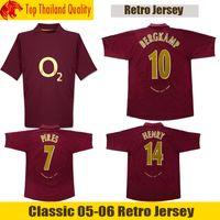 nadir toptan satış-Klasik Nadir Retro Arsenal Gömlek Vintage 05 06 Arsenal HENRY Futbol Forması Replica BERGKAMP Futbol Forması KIRMALARı BNWT Ev ÜST