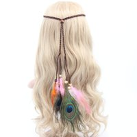 женские перья павлина оптовых-Bohemian Hippie Headband Woman Hair Accessories Party Festival Hairband for Ladies Female Haarband  Peacock Feather Tiara