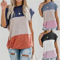 Wholesale colour ties online - Splicing Women T Shirt Short Sleeve Shoulder Angle Cotta Tie Soft Clothes Multi Colours High Quality Hot Sale kl D1