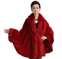 kış için gelin sargılar toptan satış-Kadın Lüks Gelin Faux Kürk Kaşmir Yün Panço Şal Cloak Cape Kış Kürk Kapak Yukarı Coat Wrap