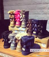 kostenlos ein s großhandel-2017 australisches schaffell Schnee Winter Stiefel Kurze Kaschmir frauen Stiefel Band Stiefel Schnee Kostenloser Versand