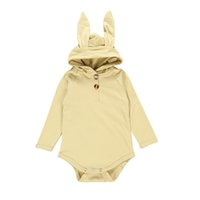 Wholesale girls rabbit hoodie resale online - INS Toddler Baby Boys Rompers Hoodies Cotton Blank Long Sleeve Rabbit Ears Front Buttons Autumn Winter Newborn Kids Boys Girls Jumpsuits
