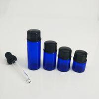 ingrosso bottiglie di vetro blu bottiglie-Vuoto piccolo vaso di vetro cosmetico 1ml 2ml 3ml 5ml Contenitore di olio di catrame di tabacco bottiglia di vetro blu con coperchio in vetro nero Droper