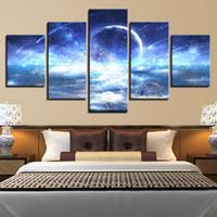 anime bilderrahmen großhandel-Leinwand Gemälde Wandkunst Rahmen HD Drucke 5 Stücke Anime Mädchen Bilder Sternenhimmel Planet Meteor Poster Modulare Wohnzimmer Dekor
