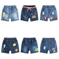 короткие джинсы для детей оптовых-Розничные мальчики шорты дети мальчик девочки повседневная мультфильм джинсовые короткие джинсы дизайнер спортивные футбол футбол доска шорты детские бутик ткани