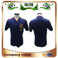 futbol forması gömlek ispanya toptan satış-2010 Retro Baskı İspanya Futbol Forması 2010 Dünya Kupası PIQUE 6 A. INESTA DAVID VILLA FABREGAS Futbol Gömlek RAMOS SILVA futbol üniforma