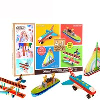 Wholesale diy old toys wooden for sale - Group buy Four in one wooden Building Blocks DIY vehicle set Manual brain assembly doodle Children s education Parent child toy