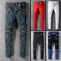 trajes quentes dos homens venda por atacado-2019 Novo famoso designer de marca famosa longo rasgado mens jeans top quality moda biker jeans de luxo para homens venda quente
