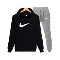 черный бренд с капюшоном оптовых-2019 sportswear men's  printed sportswear suit tether stitching pants + hoodie sports suit black gray pink chandal hombre