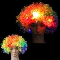 ingrosso cappelli lampeggianti-1Pcs stupefacente esplosione di parrucca Blinking Light testa LED di Natale di Halloween del pagliaccio Cappello Glow festa di Carnevale per i bambini del copricapo per adulti
