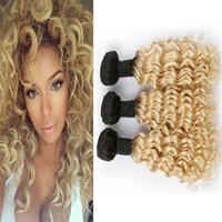 dunkle wurzeln blonde reine haare indisch großhandel-Ombre 613 Blonde Virgin Indian Hair Weave 3 Bundles-Angebote Deep Wave Curly Dark Roots Blonde Ombre Menschenhaar-Einschlagverlängerungen 3tlg