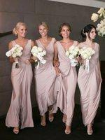 sütun mütevazı gelinlik toptan satış-Mütevazı Kılıf Sütun V Boyun Basit Ucuz Pembe Gelinlik Modelleri Balo Elbise Uzun Şifon Nedime Elbiseler Aç Geri Düğün Konuk Elbise