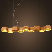 ingrosso luce a sospensione a nido d'ape-Lampada a sospensione a LED in legno massello a nido d'ape 5/7 teste sospensione sospensione a sospensione per bar ristorante illuminazione domestica