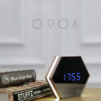 Wholesale mirror table clock resale online - Upgrade fashion Mirror and LED Alarm Clock Touch Control LED night lights display electronic desktop Digital table clocks Vanity Mirror Ther