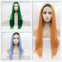 ingrosso lunghi capelli blu-Nuovo design 18-24inch dei capelli del merletto aspetto frontali lunghe parrucche sintetiche diritte centro-parted cap Ombre verde arancio blu