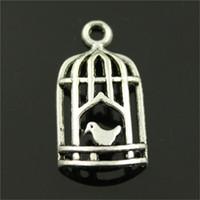 jóia encanto birdcage venda por atacado-150 pcs Birdcage Bird Charme Birdcage Charme Antique Silver Bird Birdcage Birdcage Pingente Para Fazer Jóias Acessórios 14x26mm