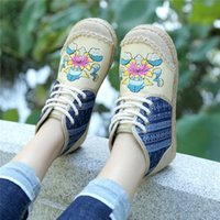 Wholesale old beijing cloth shoes for sale - Group buy Vtota Embroider Shoes Women Ankle Boots Flat Autumn Shoes Comfortable Lace up Old Beijing Cloth Shoes Flats Botas F23 MX190801